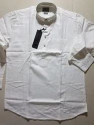 Cotton Casual Men White Short Kurta, Size/Dimension: Medium