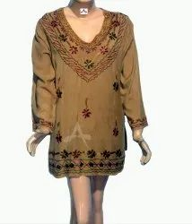 Casual Wear Straight Ladies Full Sleeve Rayon Top, Size: Free Size, Wash Care: Handwash