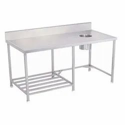 Stainless Steel Silver Dish Landing Table, For Restaurants,Hotels
