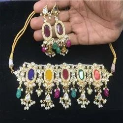 MultiColor Stone Kundan Necklace And Earring Jewellery Set For Women And Girl Bijoux
