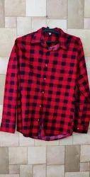 Cotton Men Red Check Shirt, Size: Medium
