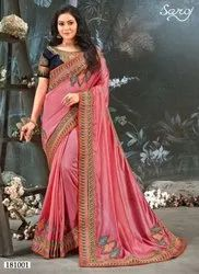 Pink Color Vichitra Silk Saree