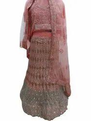 Net Wedding Wear Ladies Pink Sequence Lehenga Choli, 2 Meter
