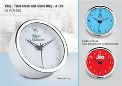 A129 Chip Table Clock With Silver Ring ,5 Inch Dial