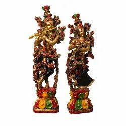 Antique Look  Polymarble Radha Krishna Statue / Showpiece
