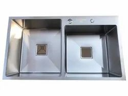 Silver Stainless Steel Double Drain SS Kitchen Sink, Size: 32x20 Inch