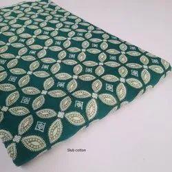 Printed Cotton Slub Fabric Suit