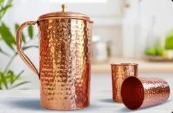 Round Copper Hammer Jug Glass Set, For Hotel, Capacity: 1.5 Litres