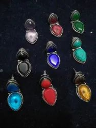 Double Gemstone Silver Plated Turquoise, Coral, Citrine, Green Onyx Handmade Earrings
