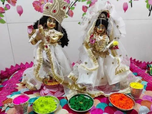 Embroidered White Silk Radha Krishna Ji Dress For Home Size 4 2inch Rs 550 Set Id 23357912573