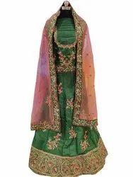 Wedding Wear Semi Stitched Designer Green Silk Lehenga Choli with Net Dupatta, 2.50, 25
