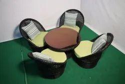 Rehau Wicker Black Garden high back chairs