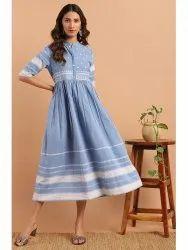 Janasya Women's Blue Cotton Western Dress(J0152)