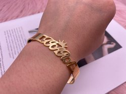 Custom Name Cuff Bangle Bracelet