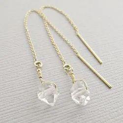 Beautiful Raw Crystal Dangle Earrings Chain Earrings In Sterling Silver
