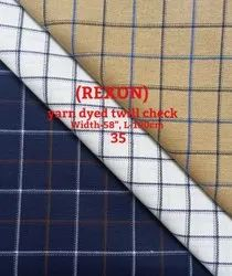 Rexon Yarn Dyed Twill Check Shirting Fabric