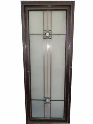 Wooden Brown Aluminum & Glass Bathroom Door, Design/Pattern: Printed, Size/Dimension: 2050x 760x30 Mm
