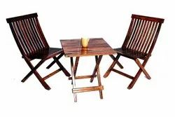 Natural Square Wood Crafts Folding Table & Chair, For Home