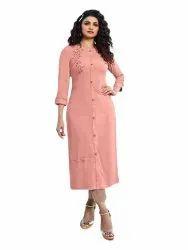 Cotton A-Line Pink Top Bottom Suit, Handwash