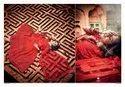 Crimson Red Soft Net Lehenga Choli With Zarkan And Thread Work(Pre-Order)
