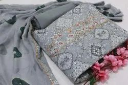 Pure Cotton Gray Fabric Suit