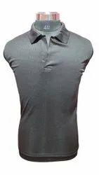 Collar Gray Men Sports Plain Polo T Shirt, Size: 40