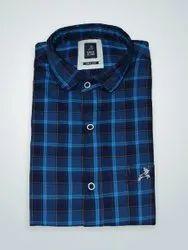Roman Island Blue Casual Wear Cotton Full Sleeve Check Shirt, Dry clean