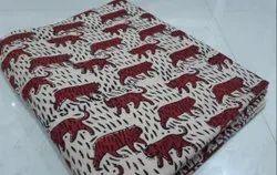 White & Brown Hand Block Cotton Printed Fabric