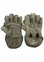 Basic Split Leather Cricket Hand Gloves, Finger Type: Full Fingered