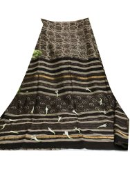 Formal Wear Brown Lining Printed Saree, 6 m (with blouse piece)