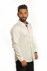 Producer Plain Mens White Formal Cotton Shirt, Machine wash, Size: Medium