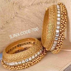 Golden Traditional Wedding Wear Designer Bangles