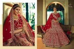 Scarlet Red Bridal Velvet Lehenga Choli With Embroidery & Hand Work