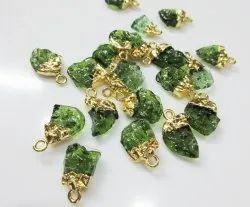 Moldavite Raw Gemstone Charms - Gold Plated Cap Pendant