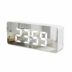 LED Mirror Clock, Cell And USB