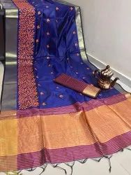 5 Color Wedding Wear Ank Enterprise Crystal Silk Embroidered Work Saree( Bansi), 6.3 M ( With Blouse Piece)