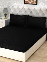 Black King Divine Overseas Satin Stripes Cotton Bedsheet, For Hotel, Size: 108