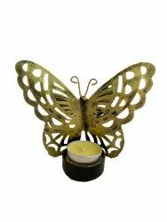 Metal butterfly t-light holder 4.5 inches tall