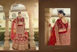 Red Pure Velvet Bridal Lehenga Choli With Stone, Dori And Zari Work