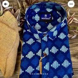 Printed Cotton Blue Fabric Shirt