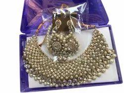 Artificial Diamonds Neck Fitting White Diamond Necklace Set