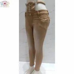 Stretchable Brown Button Closer Girls Denim Jeans, Machine Wash,Handwash