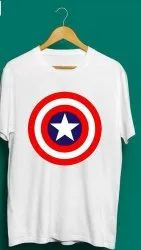 Combed Cotton Round Mens Graphic Printed T Shirt, Size: Large