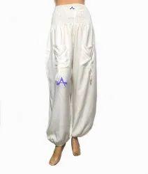 Balloon Pants Casual Wear Ladies White Rayon Harem Pajama, Size: Free Size