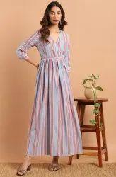 Janasya Women's Blue Cotton Blend Western Dress(J0159)