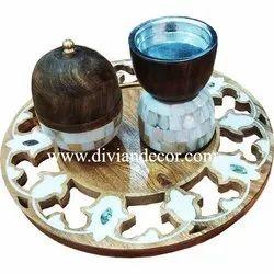 Wooden & Mother Of Pearl Bakhoor Burner Tray Set
