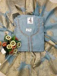 Straight Unstitched Designer Dark Grey Color Modal Chanderi Suit - Online Arihant Fashion, Handwash