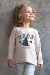 Think Kids Girl Grey Printed T Shirt