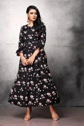 Ladies Black Floral Print Poly Crepe Long Dress