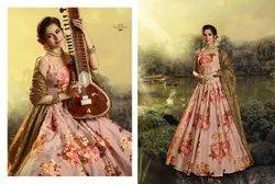 Blus Pink Pure Organza Designer Printed Floral Lehenga Choli With Sequins And Zari Work
